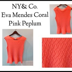 NY&Co. Eva Mendes Coral Pink Peplum Top/ M